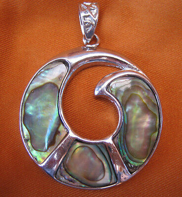 Vintage 1970s Silver Tone Pendant with Abelone shell decoration