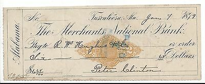 1899 Tuscaloosa Alabama Bank Check RN-X7
