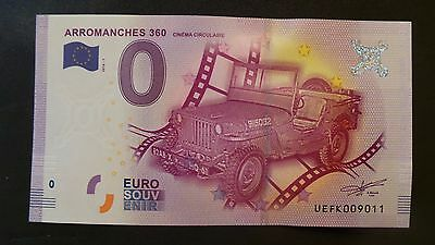 """France, Mint, 0 Euro, Novelty Note. Banknote Grade. """"Arromanches 360""""."""