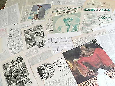 50 Vintage papers,page dictionary music paper, altered art mixed media  PKno 105