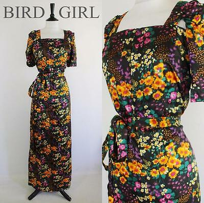 Wildflower Floral Print 1970S Vintage Black Cutout Sleeves Maxi Dress 16-18 L