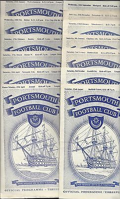 13 x PORTSMOUTH HOME PROGRAMMES 1953-4  DIV. 1 GOOD CONDITION TOTTENHAM HOTSPUR