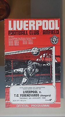 LIVERPOOL v TC FERENCVAROS 1968 INTER CITIES FAIRS CUP