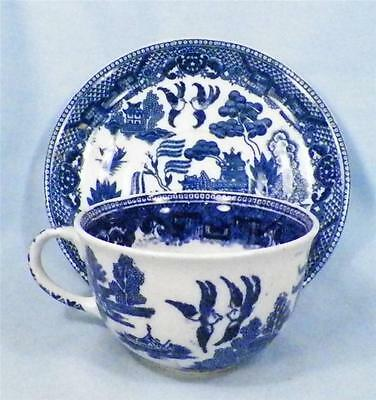 Ye Olde Willow Cup & Saucer Blue Grinwades Stoke on Trent Great Britain Vintage
