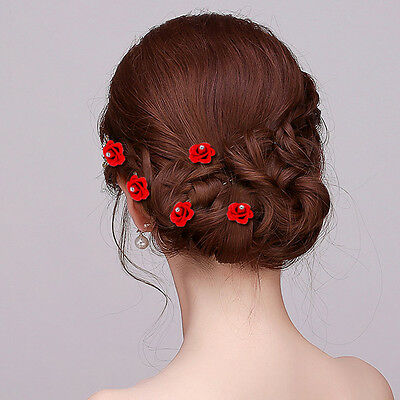 Women Lady Party Prom Job Clear Crystal Rhinestone Red Rose Hair Clips Pins Comb