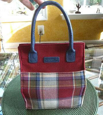 LONGABERGER HOMESTEAD Small Tote Lunch Bag Red/Tan/Blue PAPRIKA Plaid w/INSERT