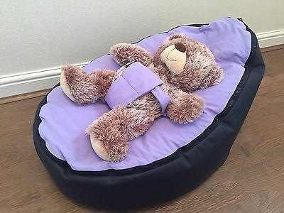 Doomoo Baby Seat Bean Bag Lilac And Navy Colour