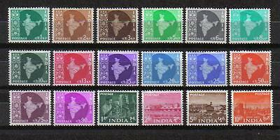 India 1958-63 Maps Industries Definitive Set 0F18 Sc #302-319 Mlh