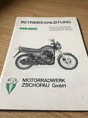 1992 Mz 500 R Operating Instructions Manual