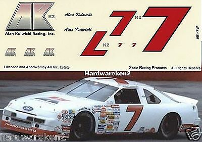 Nascar Decal # 7 A.k. Racing 1991 Thunderbird - Early Season - Alan Kulwicki