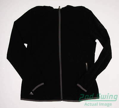 New Logoed Womens Adidas Golf Climastorm Rain Jacket Large Black MSRP $90 AE9393