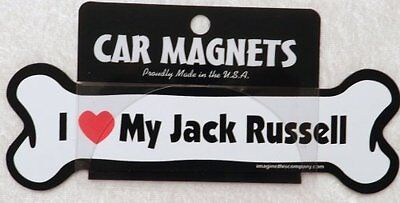 Dog Magnetic Car Decal - Bone Shaped - I Love My Jack Russell - Made in USA - 7""