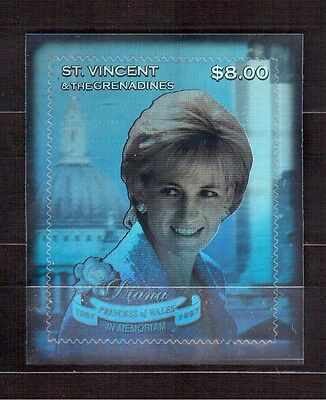 St.vincent & Grenadines Silver Foil Mint Nh, Princess Diana 1951-97 In Memoriam