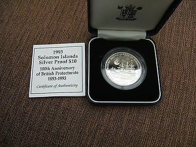 1993   Solomon Islands Silver Proof 10 Dollar  In Case With Coa.........131