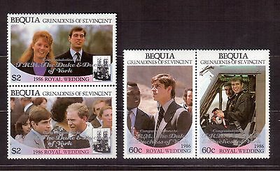Grenadines St.vincent Bequia 1986 #241/44 Set Mint Nh, Royal Wedding !!