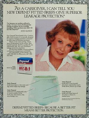 1986 Depend Fitted Briefs Adult Diapers Vintage Magazine Ad Page - June Allyson