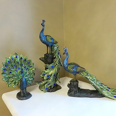 3 Peacock Figurines Decor Colorful Display new Yard  Home Ornaments Bird Dance