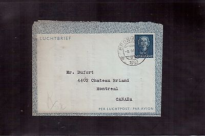 Netherlands 1952 Air Letter (Aerogram) To Canada !!