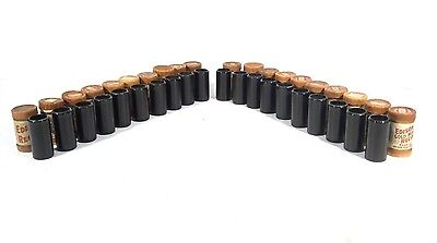 Lot of 20 Pristine Edison 2-minute Black Wax Cylinder Records + Boxes, Lids
