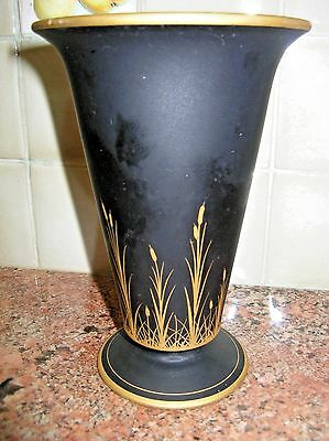 Vintage Tiffin Black Satin Glass Vase Gold Rushes Cattails 1920s Art Deco