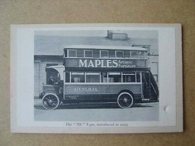THE NS TYPE BUS INTRODUCED IN 1923 - PICTURE ON BLANK POSTCARD (1920s?)