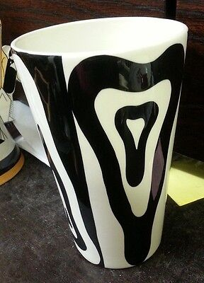 LORNA BAILEY tall black and white design vase FREE P&P Excellent Condition