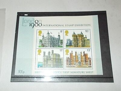 London 1980 international stamp exhibition historic buildings miniature sheet