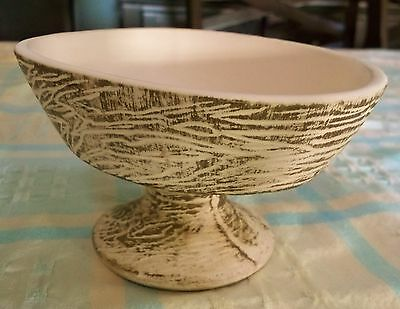 Oval McCoy Pottery Pedestal Planter Brushed Gold Wood Grain Texture