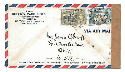 WW2 1941 Queen's Park Hotel Censored OPENED BY CENSOR No.8 Trinidad Air Mail