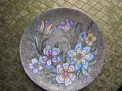 Decrative Floral Hand Painted Wall Plate With Gilding