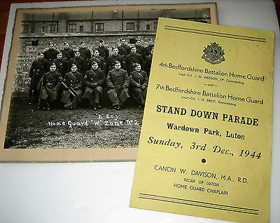 WW2 Home Front HOME GUARD PHOTOGRAPH & LUTON PROGRAMME