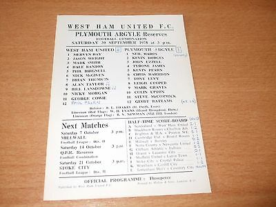 1978 - 1979 WEST HAM RESERVES v PLYMOUTH FOOTBALL COMBINATION