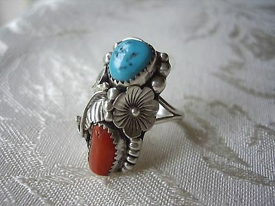 Sterling Silver Navajo Turquoise Coral Set Ring Native American