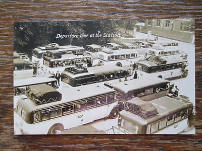 DEPARTURE TIME AT THE STATION - GREAT VINTAGE BUSES, REAL PHOTO POSTCARD (1920s)