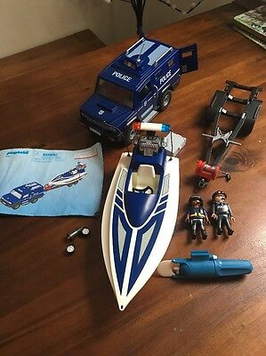 Playmobil Police Truck With Speed Boat