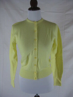 Vtg 50s 60s Garland Yellow NOS Dead Stock Wool Vintage Cardigan Sweater W34
