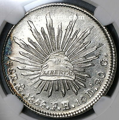 1858-Mo NGC MS 63 MEXICO Silver 8 Reales Lustrous Coin (17031901D)