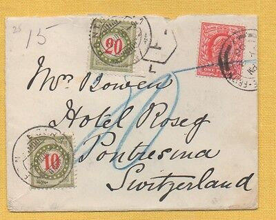 EDWARD VII 1906 COVER to HOTEL ROSEG, PONTRESINA, SUISSE,  SWISS POSTAGE DUES