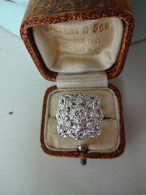 Stunning Antique Vintage Style 18ct White Gold Diamond Cluster Ring