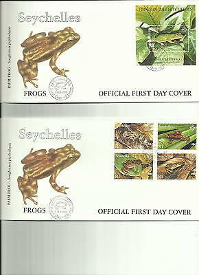 Seychelles - Frogs - Wwf - Great Set 2 Fdc's + Pres Pack + M/s + Set Stamps Mnh