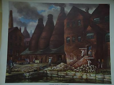 VINTAGE MACMILLAN'S TEACHING POSTER Pottery works in Staffordshire