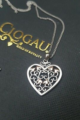 Beautiful CLOGAU sterling silver & 9ct rose welsh gold heart necklace