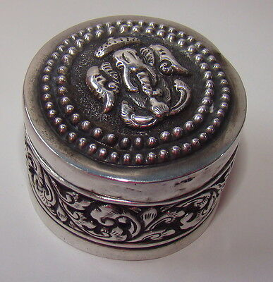 Antique Box / covered Jar Sterling silver Burmese Round Elephants Serpent Leaves