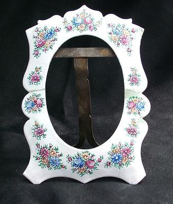 "ANTIQUE FLORAL ENAMEL PICTURE PHOTOGRAPH FRAME 5.25""x 3.75"" FRENCH QUIMPER STYLE"