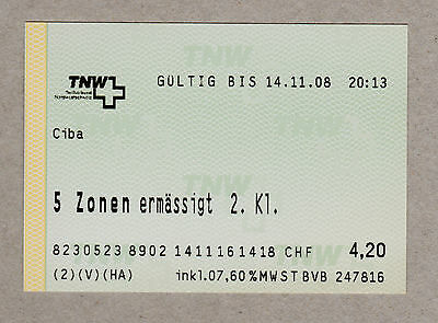 Switzerland Basel Tnw Ticket / Tnw Fahrkarte (305)