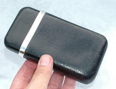 Super Antique Leather & Sterling Silver Cigar Case Hallmarked 1895 Grey & Co
