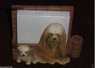 Lhasa Apso Dog Figurine E & S Imports Note Pad Holder Magnet Puppy and Mother