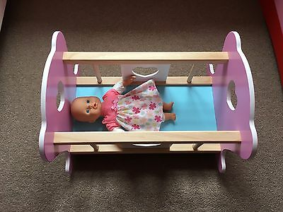 Wooden Dolls Bed Rocking Crib Cradle Cot Toy