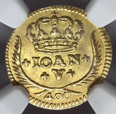 1730 Portugal 400 Reis Gold Coin - NGC MS 63 - KM# 201 - TOP POP
