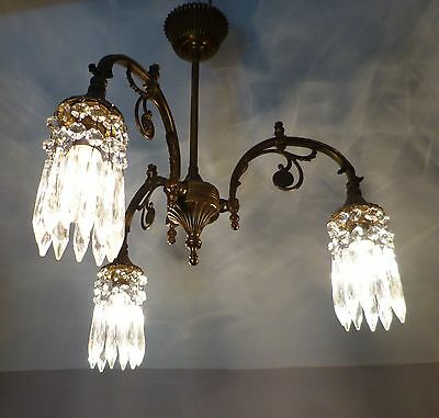 Beautiful Vintage Brass Down Light Crystal Chandelier, Very Pretty, Rewired